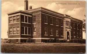 Shenandoah, Iowa Postcard HAND HOSPITAL Building Front View Sepia c1910s