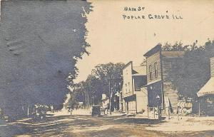 Poplar Grove IL Main Street Storefronts Old Car Real Photo Postcard