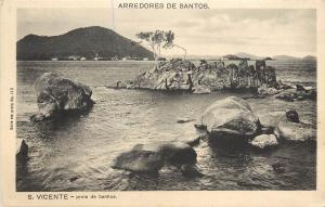 Vintage Postcard Arredores De Santos Sao Paulo Brazil S. Vicnete Praia De Banhos