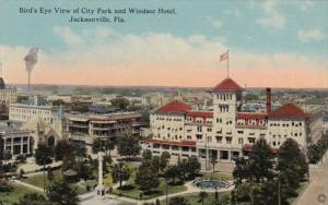 Florida Jacksonville Birds Eye View Of City Park and Windsor Hotel