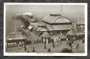 dc377 - BLACKPOOL England 1946 North Pier Real Photo Postcard