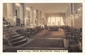 Albany New York~Hotel Wellington South Lounge~Chairs-Couches-Potted Plants~1950s