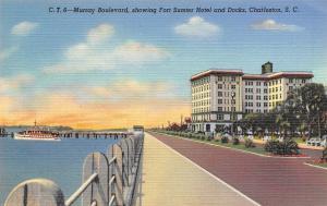 Charleston SC~Murray Boulevard Showing Fort Sumter Hotel And Docks~1940 Postcard