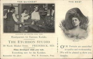 Frederick MD Etchison Studio Eastman Kodak Film Developing Studio Adv Postcard
