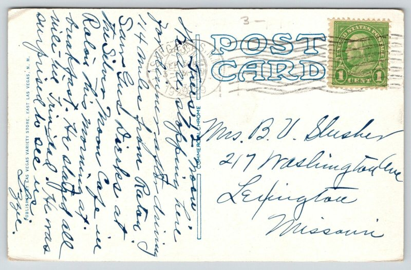 East Las Vegas New Mexico~Meadows Hotel~Vintage Cars~Lamp Posts~1929 Postcard