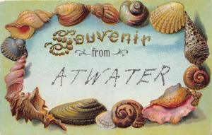 Atwater California~Embossed Seashell Greeting Postcard~c1910