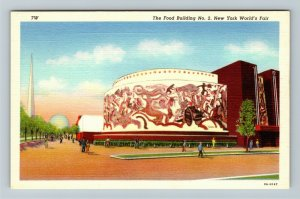 1939 New York World's Fair - The Food Building - Bourdelle Mural Linen Postcard