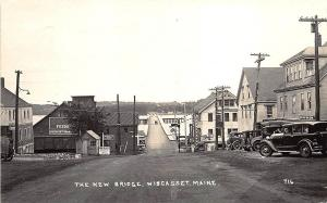 Wiscasset ME Main Street Store Fronts The New Bridge Old Cars RPPC Postcard