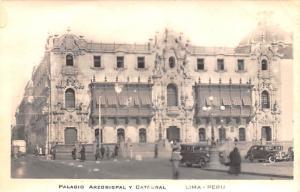 Peru Old Vintage Antique Post Card Palacio Arzobispal y Catedral Lima Postal ...