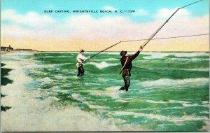 Vtg Postcard 1910s Wrightsville Beach NC North Carolina Surf Casting Fishing UNP