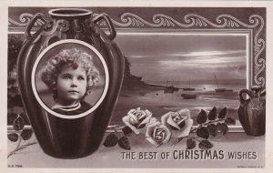 RP: CHRISTMAS, 1910-20s; Best Wishes, Portrait of little girl on vase, Roses