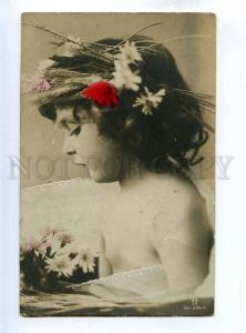 193915 Nude Girl FAIRY NYMPH Flowers Vintage PHOTO tinted PC