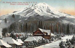 Winter Scene, Mt. Shasta, CA Siskiyou Co. SPRR Route 1909 Vintage Postcard
