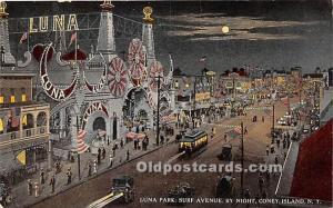 Amusement Park Postcard Post Card Luna Park, Surf Avenue by Night Coney Islan...