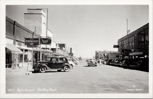 Shelby MT Main Street Budweiser Larso c1952 Glacier Studio RPPC Postcard E58