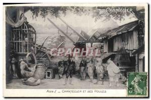 Old Postcard Theater Chantecler Edmond Rostand and his hens