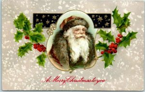 Vintage Christmas Postcard SANTA CLAUS in BROWN SUIT w/ Fur Trim / Holly 1911