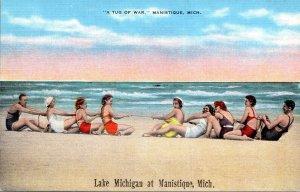 Michigan Manistique Lake Michigan Beach Scene A Tug Of War