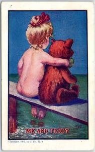 Vintage Artist-Signed M.D.S. Postcard ME AND TEDDY Naked Girl Bathing 1908