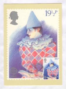 Maximum postcard; Circus Clown , UK 28 April 1982