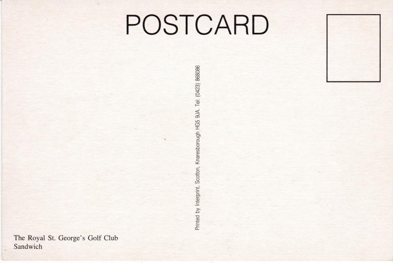 Post Card Kent Sandwich The Royal St. George's Golf Club