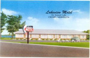 Lakeview Motel on Serpent Lake, Crosby, Minnesota, MN, Pre-zip Code Chrome
