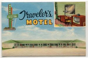 Traveler's Motel TV Set US Highway 67 Corning Arkansas linen postcard