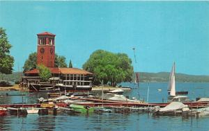 Chautauqua Lake New York Institution-Miller Bell Tower~Boats/Marina~1960s Pc