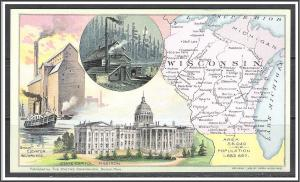Wisconsin Youth's Companion Map c1891