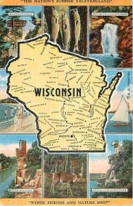 Linen Wisconsin Map Card WI 1949