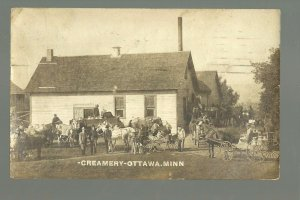 Ottawa MINNESOTA RP 1911 CREAMERY Busy Day nr St. Peter Le Sueur TINY TOWN!