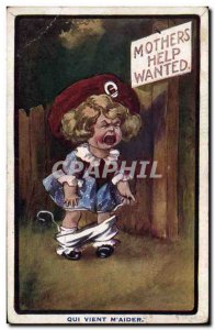 Old Postcard Fantasy Illustrator Child Mothers help wanted