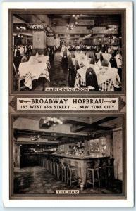 NEW YORK CITY, NY  Interior Views BROADWAY HOFBRAU  The Bar 1939  Postcard
