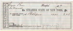 1870-2 Freight Receipt, STEAMER STATE OF NEW YORK, Hartford & NY Steamboat Co.