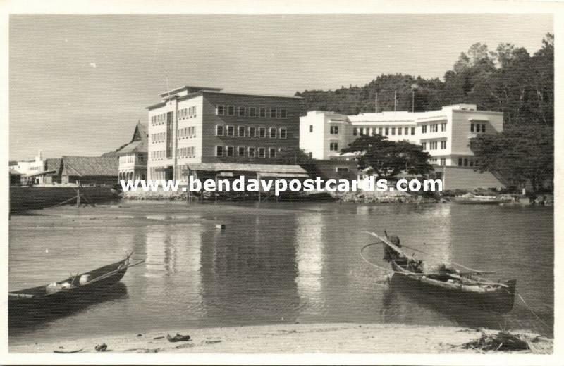 british north borneo, SABAH JESSELTON, Partial View from the Water (1930s) RPPC
