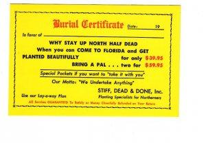 Burial Certificate, Florida Joke