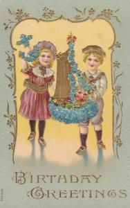 Birthday Greetings, Girl holding flower anchor and boy holding flower sailboa...