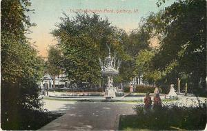 Fountain In Washington Park, Quincy, Illinois, IL, Divided Back