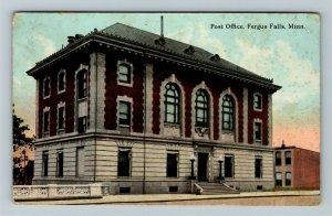 Fergus Falls MN-Minnesota, Post Office, Vintage c1913 Postcard