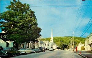 Stowe Vermont~Main Street~1950s Cars~Church Steeple~Old-Fashioned Gasoline Pump