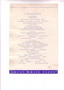 TSS Peten, Cruise Ship Luncheon Menu, Great White Fleet, At Sea, July 20, 1934,