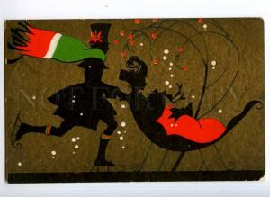 245430 NEW YEAR Skaiting SLED Vintage ART NOUVEAU Silhouette