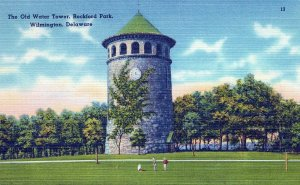 The Old Water Tower Rockford Park Wilmington Delaware Vintage Linen Post Card