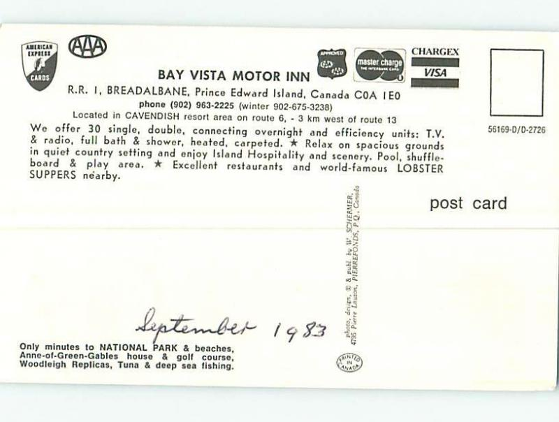 Unused Pre-1980 BAY VISTA MOTEL Breadalbane PE M3266