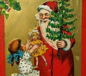 Tuck Santa Claus Christmas Postcard Series 501 Embossed Saxony Brooklyn NY 1910