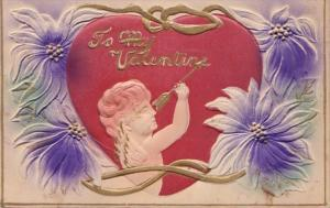 Valentine's Day Cupid Writing On Heart With Arrow