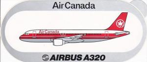 AIR CANADA AIRBUS A320 VINTAGE AVIATION LABEL