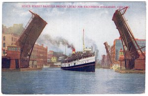 Chicago, State Street Bascule Bridge, Lifted For Excursion Steamship