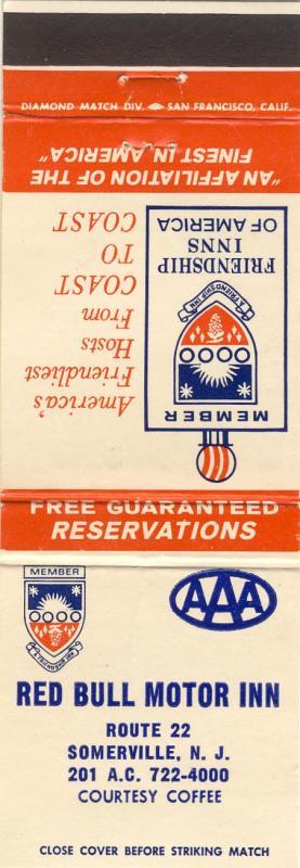 Sommerville, New Jersey/NJ Matchcover, Red Bull Motor Inn