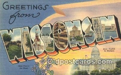 Wisconsin USA Large Letter Town Unused